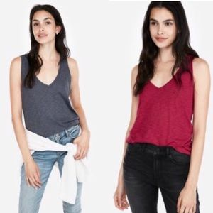 BUNDLE! (2) Express One Eleven Slub V-Neck Tank